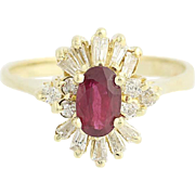 Ruby & Diamond Ring - 14k Yellow Gold July Birthstone Halo .80ctw