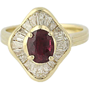 Two-In-One Ruby & Diamond Halo Ring - 14k Gold Converts to Pendant 1.73ctw