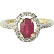 Ruby & Diamond Halo Ring - 14k Yellow & White Gold July 1.06ctw