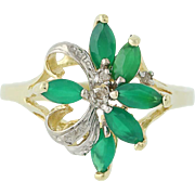 Chrysoprase & Diamond Ring - 10k Yellow & White Gold .67ctw