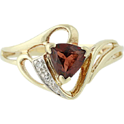 Garnet & Diamond Bypass Ring - 10k Yellow & White Gold January .76ctw