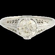 Art Deco Diamond Engagement Ring - 18k White Gold European Cut .95ct