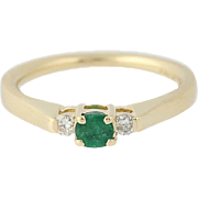 Emerald & Diamond Ring - 14k Yellow Gold May Birthstone .27ctw