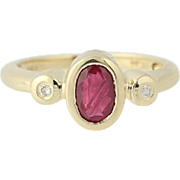 Ruby & Diamond Ring - 14k Yellow Gold July Birthstone .72ctw