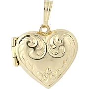 Heart Locket - 14k Yellow Gold Scroll Design Double Photo Frame Opens