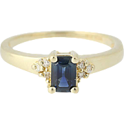 Sapphire & Diamond Ring - 14k Yellow Gold September Birthstone .95ctw