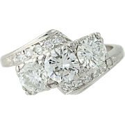 Retro Diamond Bypass Ring - 900 Platinum Vintage Round Cut 1.35ctw