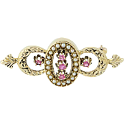 Vintage Ruby & Seed Pearl Brooch - 14k Yellow Gold June July Pin .34ctw