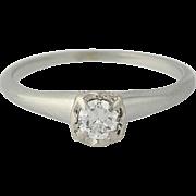 Vintage Diamond Engagement Ring - 14k Gold European Cut Solitaire .23ct