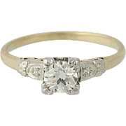 Art Deco Diamond Engagement Ring - 14k Yellow & White Gold European Cut .39ctw