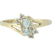 Blue Topaz & Cubic Zirconia Bypass Ring - 10k Yellow Gold Women's CZ