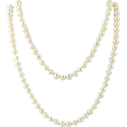 "Freshwater Pearl Necklace 48 1/2"" - Knotted Strand Long Length June Gift"