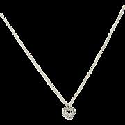 "Vintage Diamond Heart Pendant Necklace 18"" - 14k White Gold Love .10ctw"