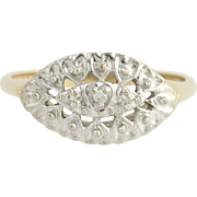 Vintage Heart Ring - 10k Yellow & White Gold Diamond Accent .01ct