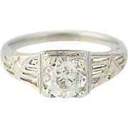 Art Deco Diamond Engagement Ring - 18k Gold Vintage Old European Cut 1.14ct