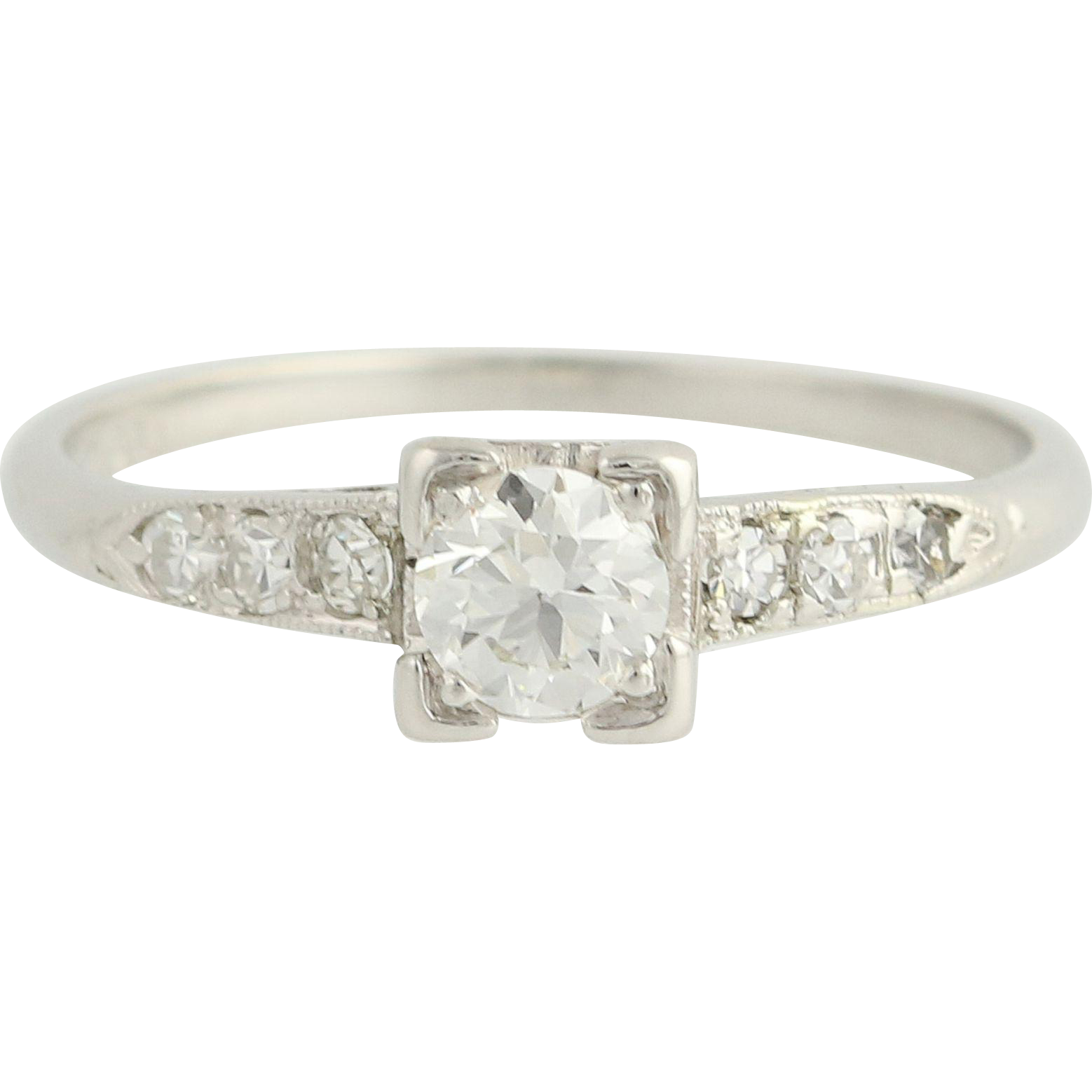 Art Deco Diamond Engagement Ring - Platinum Vintage European Cut .52ctw