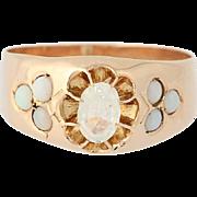 Victorian Glass & Opal Ring - 14k Rose Gold Women's Antique .24ctw