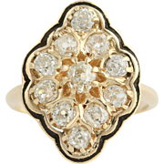 Victorian Revival Diamond Ring - 14k Yellow Gold Old Mine Cut Vintage 1.54ctw