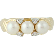 Cultured Pearl & Diamond Ring - 14k Yellow Gold 5mm June Gift .03ctw