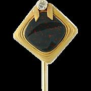 Art Nouveau Bloodstone & Diamond Stickpin - 14k Yellow Gold Vintage .05ct