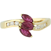 Ruby & Diamond Ring - 18k Yellow Gold Curved July Birthstone .86ctw