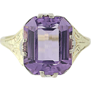 Art Deco Amethyst Ring - 14k Yellow & White Gold February Vintage 5.41ctw