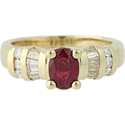Ruby & Diamond Ring - 14k Gold Solitaire with Accents 1.47ctw