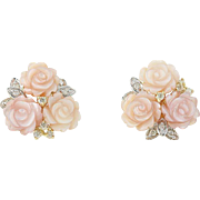 Rose Bouquet Earrings- 14k Gold Carved Mother of Pearl & Diamonds Pierced .28ctw