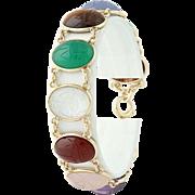 Vintage Multi-Gemstone Scarab Beetle Bracelet -14k Gold Tiger's Eye Chalcedony