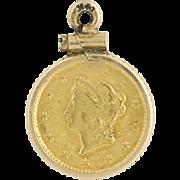1853 Liberty Head $1 Coin Pendant - 14k Yellow Gold & 900 Gold Coin