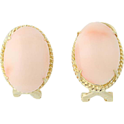 Coral Earrings - 14k Yellow Gold Cabochon Cut Omega Closures Pierced
