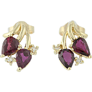 Ruby & Diamond Earrings - 14k Yellow Gold July Birthstone Pierced 1.95ctw