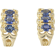 Sapphire & Diamond J-Hook Earrings - 14k Yellow Gold September Pierced 1.70ctw