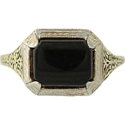 Art Deco Onyx Ring - 14k Yellow & White Gold Vintage Women's Size 7