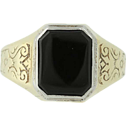 Art Deco Onyx Ring - 10k Yellow Gold Vintage Ostby & Barton Women's