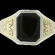 Art Deco Onyx Ring - 10k Yellow Gold Vintage Ostby & Barton Women's