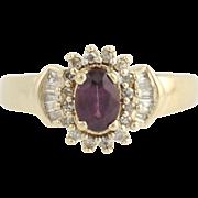 Spinel & Diamond Ring - 10k Yellow Gold Halo .82ctw