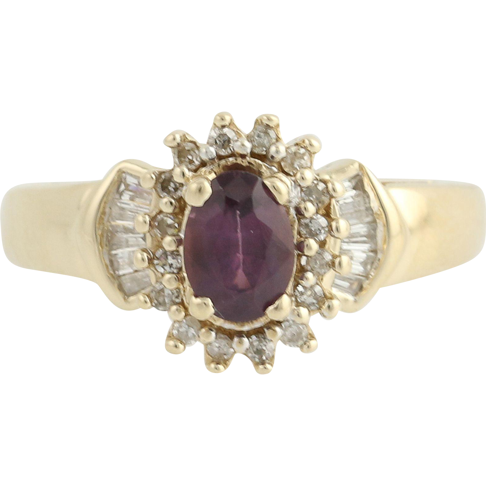 Spinel & Diamond Ring - 10k Yellow Gold Halo .82ctw