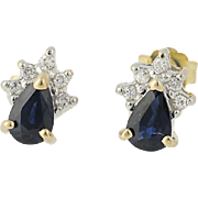 Sapphire & Diamond Earrings - 14k Yellow & White Gold Pierced .83ctw