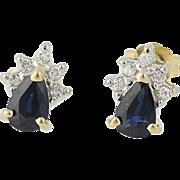 Sapphire & Diamond Earrings - 14k Yellow & White Gold Pierced .83ctw