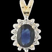 Sapphire & Diamond Pendant - 14k Yellow & White Gold September Halo 1.78ctw
