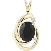Onyx & Diamond Pendant - 14k Yellow Gold Women's Gift .02ct