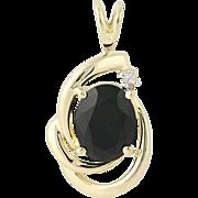 Onyx & Diamond Pendant - 14k Yellow Gold Women's Gift .02ct