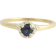 Vintage Sapphire Ring - 14k Yellow & White Gold September Solitaire .30ct