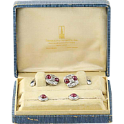 Art Deco Ruby & Diamond Cufflinks & Shirt Studs - Platinum & 14k Gold 7.22ctw