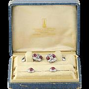 Art Deco Ruby & Diamond Cufflinks & Shirt Studs - Platinum & 14k Gold 7.22ctw