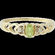 Peridot & Diamond Ring - 14k Yellow Gold Size 9 1/2 Women's .26ctw