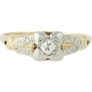 Art Deco Diamond Engagement Ring - 10k Gold Transitional Cut Vintage .21ctw