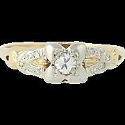 Art Deco Diamond Engagement Ring - 10k Gold Transitional Cut Vintage .21ctw