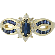 Sapphire & Diamond Halo Ring - 14k Yellow Gold Marquise Brilliant .79ctw